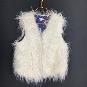 White Faux Fur Shaggy Vest XXL 2XL